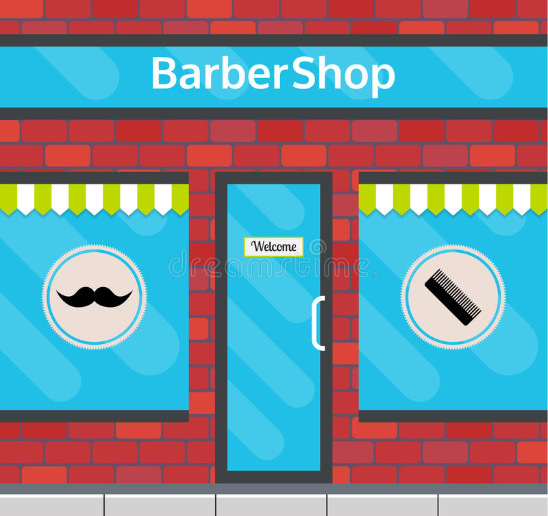 在平的样式的理发店前面 向量例证