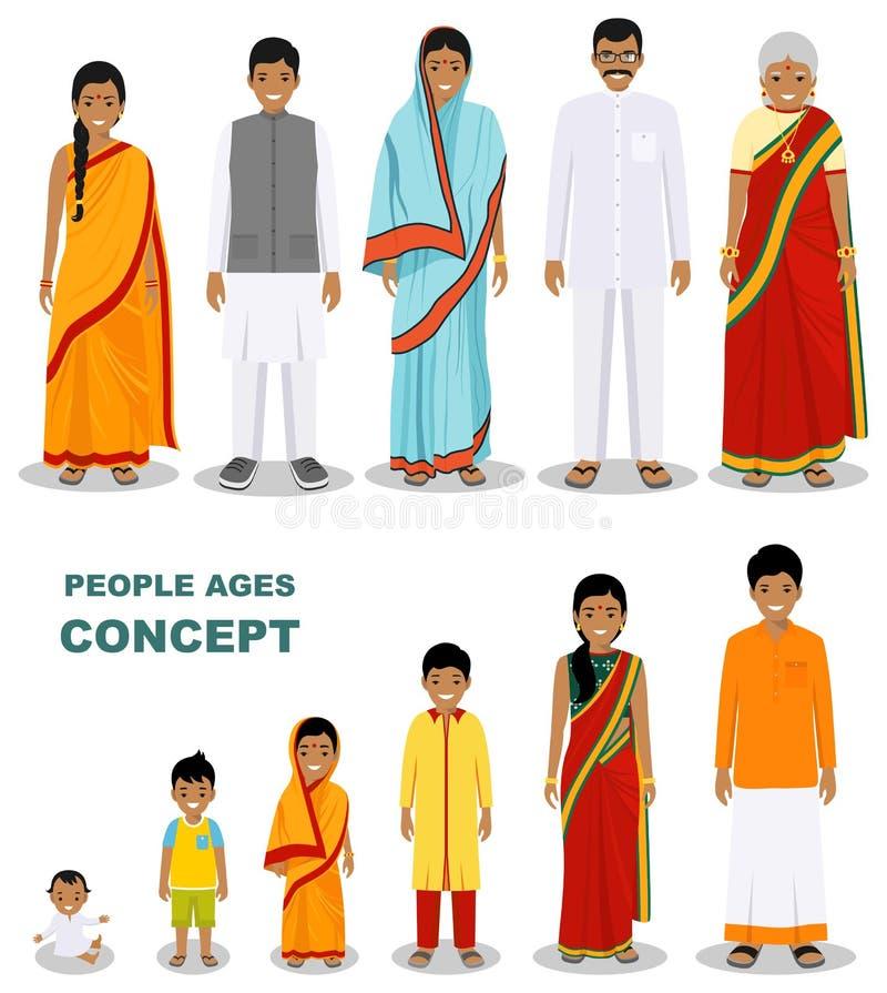 在平的样式的白色背景在不同的年龄的东部人世代隔绝的 印度男人和妇女变老的婴孩 库存例证