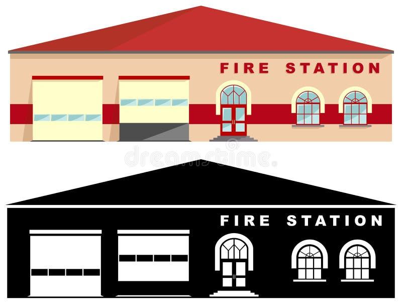 在平的样式的白色背景隔绝的另外亲切的消防局大厦:色的和黑剪影 向量 库存例证