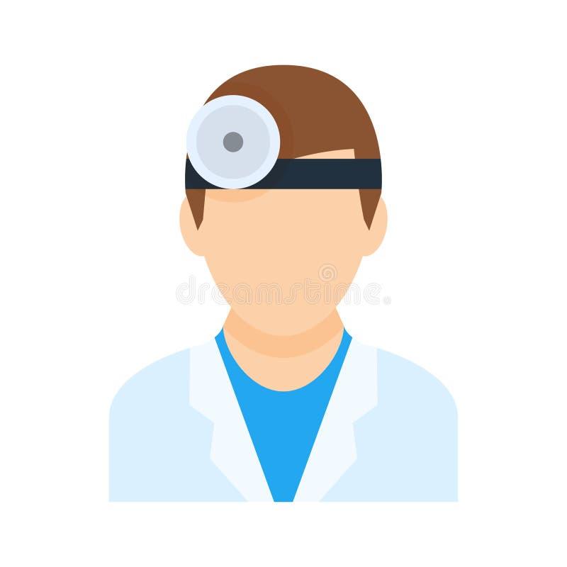 在平的样式的眼科医生医生男性传染媒介象 向量例证