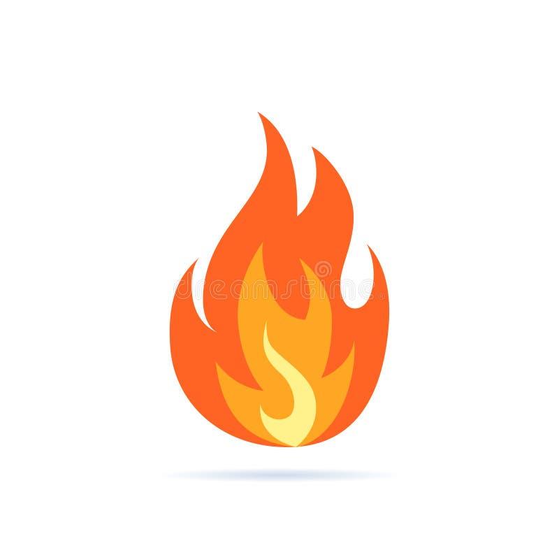 在平的样式的简单的传染媒介火焰象 向量例证