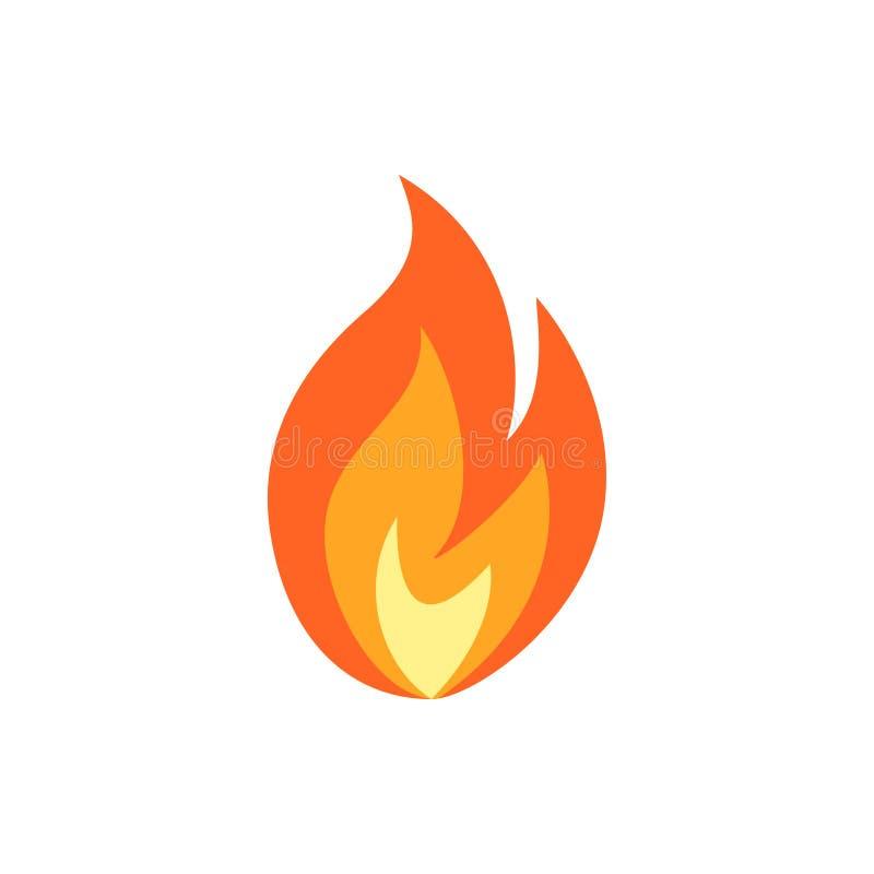 在平的样式的简单的传染媒介火焰象 库存例证