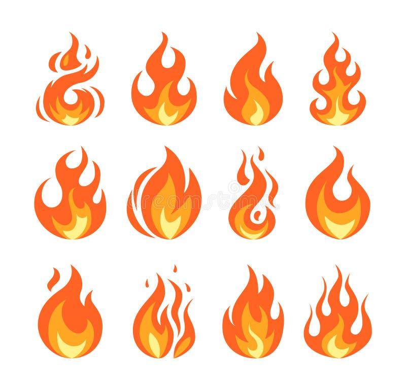 在平的样式的简单的传染媒介火焰象 皇族释放例证
