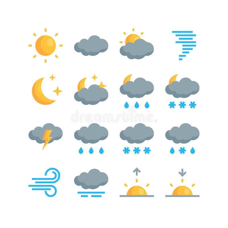 在平的样式的简单的天气传染媒介象 皇族释放例证