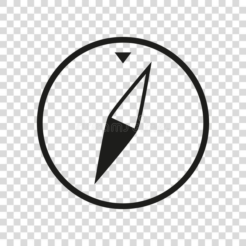 在平的样式的简单的黑指南针象,在透明背景的船舶工具 传染媒介您的设计元素企业项目 向量例证