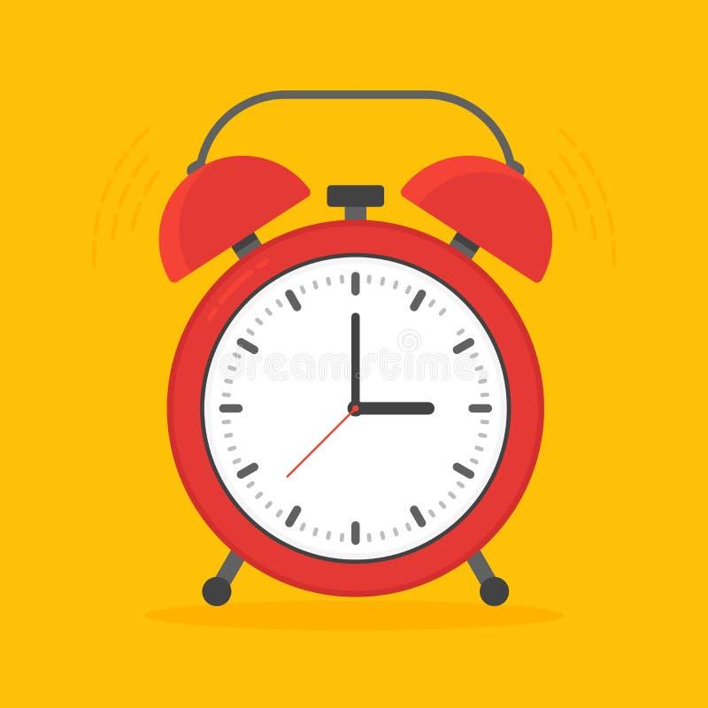 在平的样式的背景隔绝的闹钟红色唤醒的时间 也corel凹道例证向量 向量例证