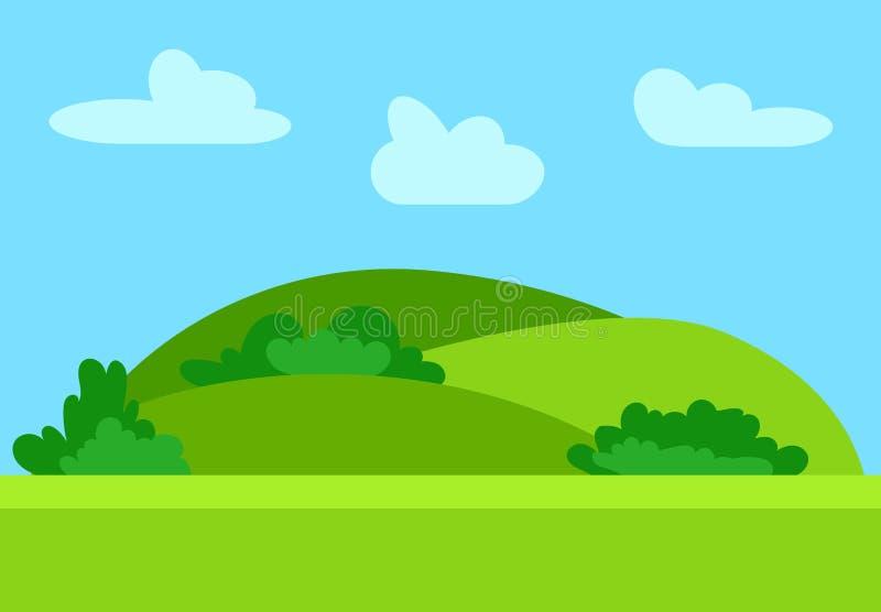 在平的样式的自然动画片风景与青山 向量例证