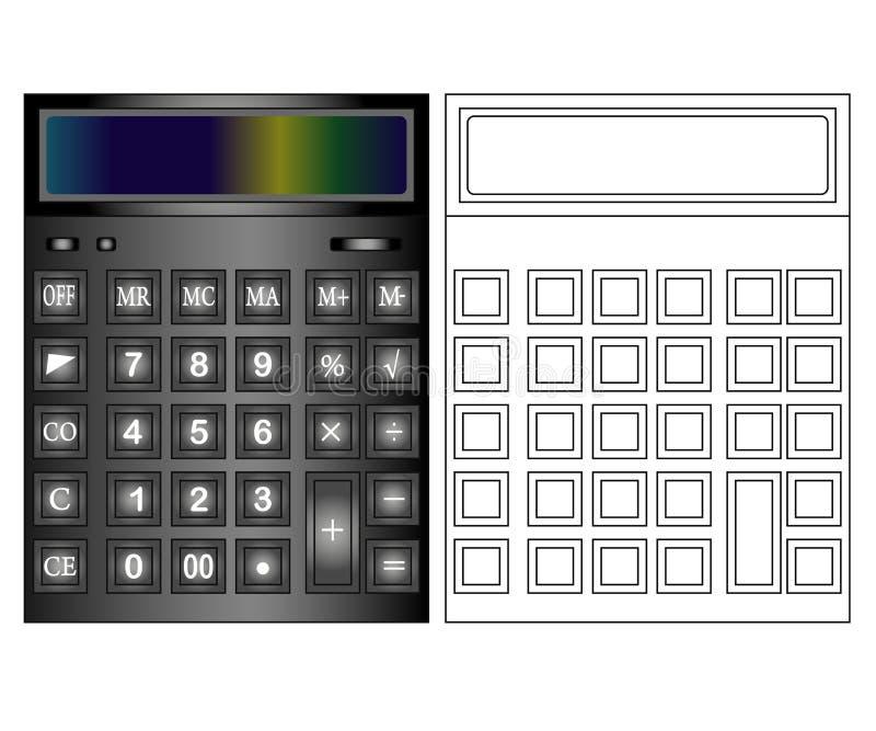 在平的样式的计算器象 在色的背景隔绝的计算器 皇族释放例证