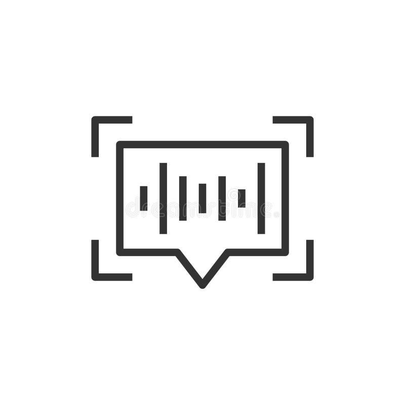 在平的样式的语音识别象 在白色被隔绝的背景的认证合理的传染媒介例证 Soundwave事务 皇族释放例证