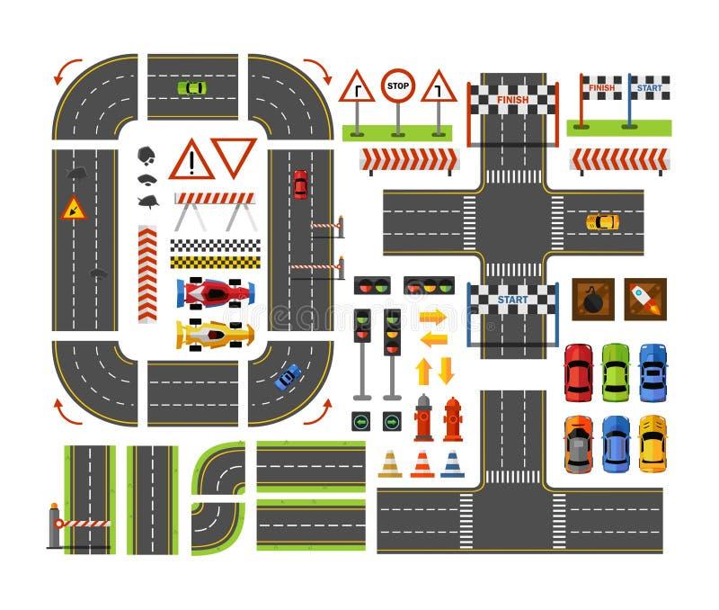 在平的样式的路建设者顶视图在白色背景隔绝的游戏设计的 传染媒介在白色隔绝的城市道路元素 皇族释放例证