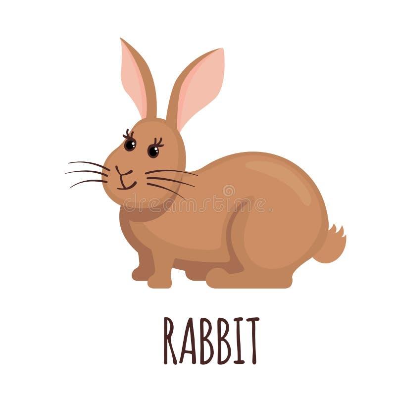 在平的样式的逗人喜爱的兔子 皇族释放例证