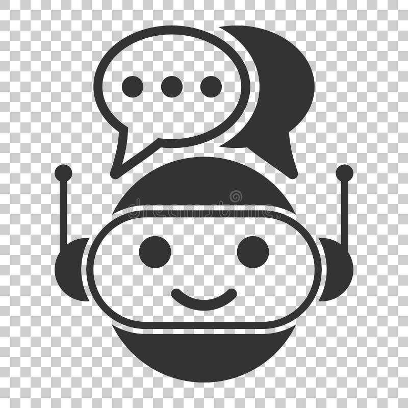 在平的样式的逗人喜爱的机器人chatbot象 马胃蝇蛆操作员传染媒介illus 向量例证