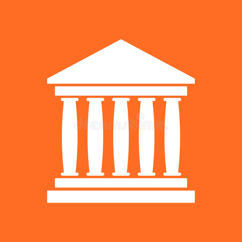 在平的样式的银行大楼象 博物馆传染媒介例证 库存例证