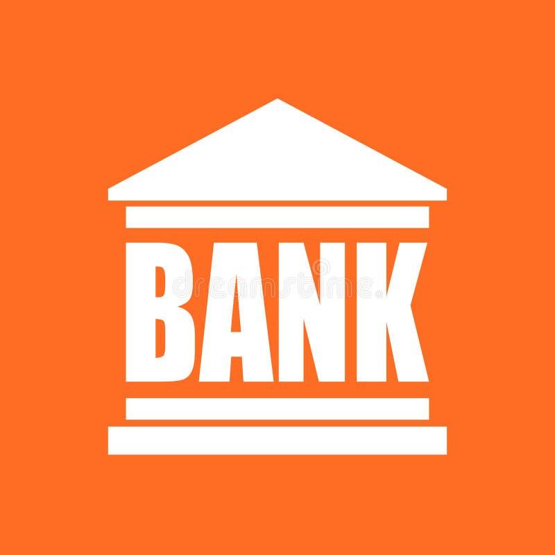 在平的样式的银行大楼象 在桔子的传染媒介例证 向量例证