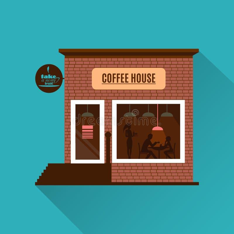 在平的样式的餐馆或咖啡馆例证 向量 皇族释放例证