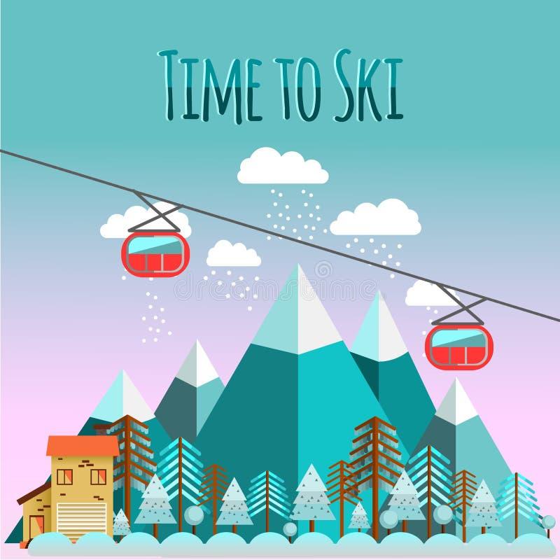 在平的样式的滑雪风景