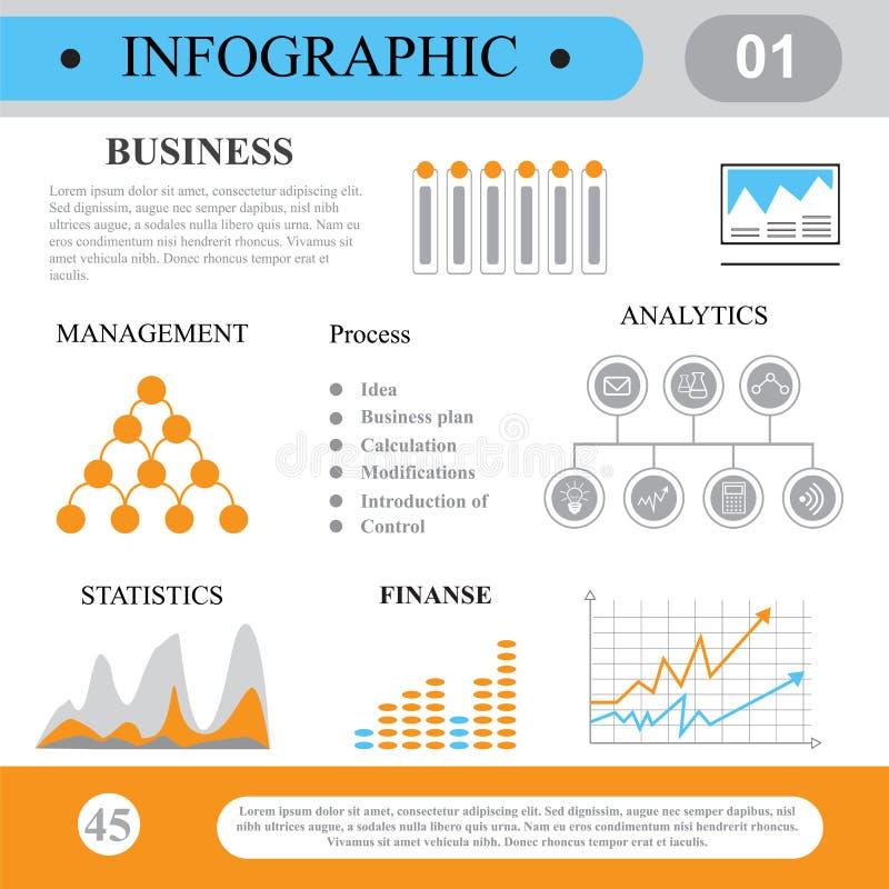 在平的样式的Infographics 商业运作和计划 向量例证