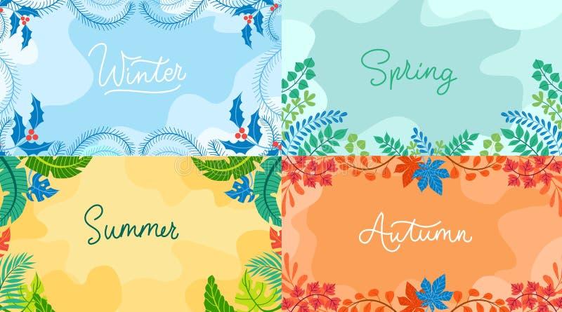 在平的样式设置的季节性背景 冬天,春天与季节性元素的秋天夏天 传染媒介背景汇集 皇族释放例证
