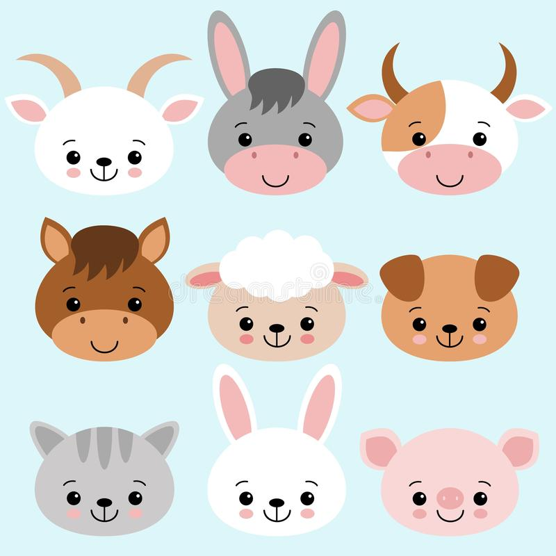 在平的样式设置的牲口隔绝在蓝色背景 也corel凹道例证向量 逗人喜爱的动画片动物汇集绵羊,山羊,母牛 向量例证