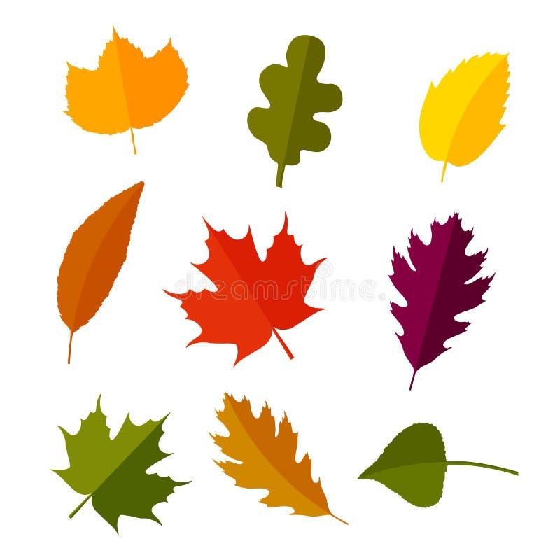 在平的样式设置的秋叶 背景查出的白色 也corel凹道例证向量 皇族释放例证