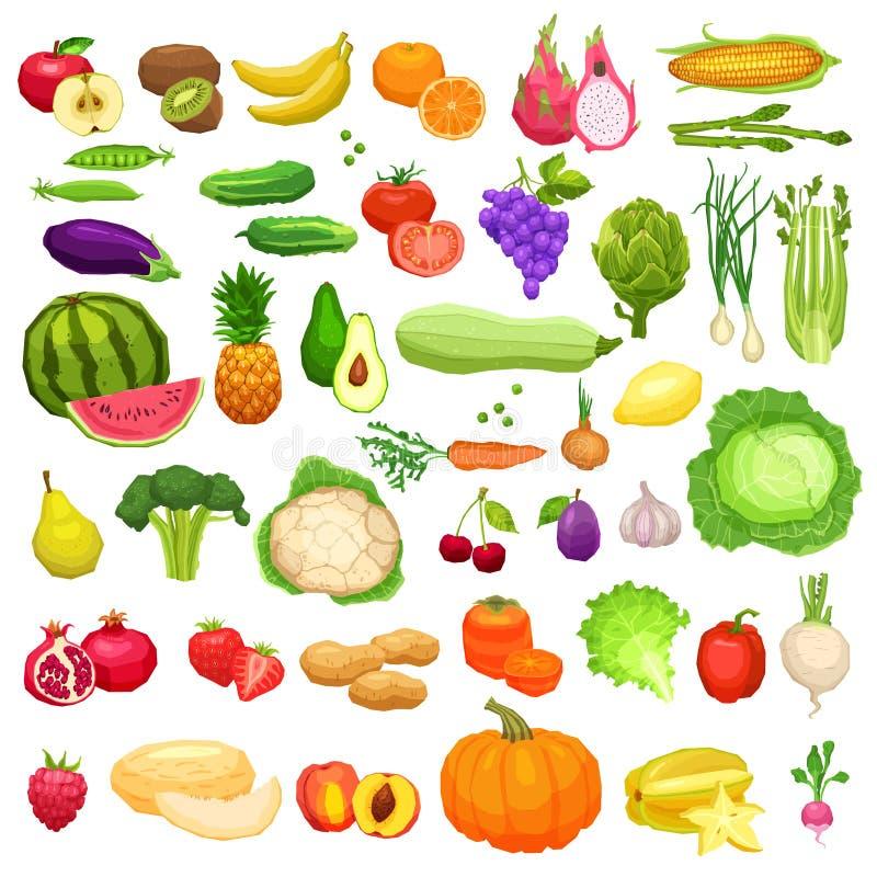 在平的样式设置的蔬菜和水果大象 向量例证