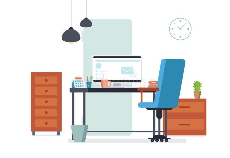 在平的样式设计的办公室内部 企业现代工作场所 库存例证