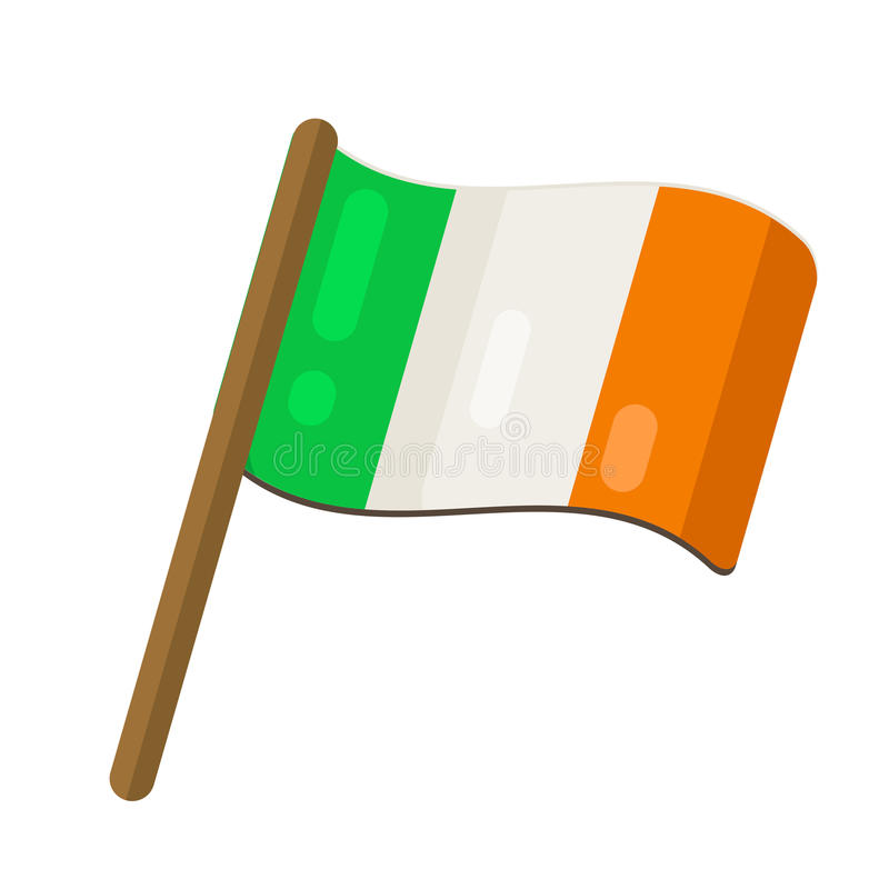在平的样式设计的爱尔兰旗子 爱尔兰的挥动的标志 Vecto 库存例证