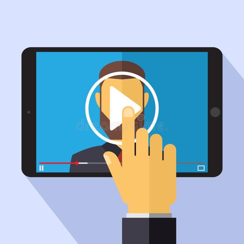 在平的样式-在片剂个人计算机屏幕上的图象播放机的传染媒介录影营销概念- infographics设计元素 皇族释放例证