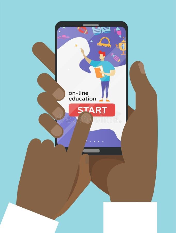 在平的样式-拿着有教育应用程序的两只手的传染媒介网上教育概念手机在屏幕-遥远的e- 向量例证