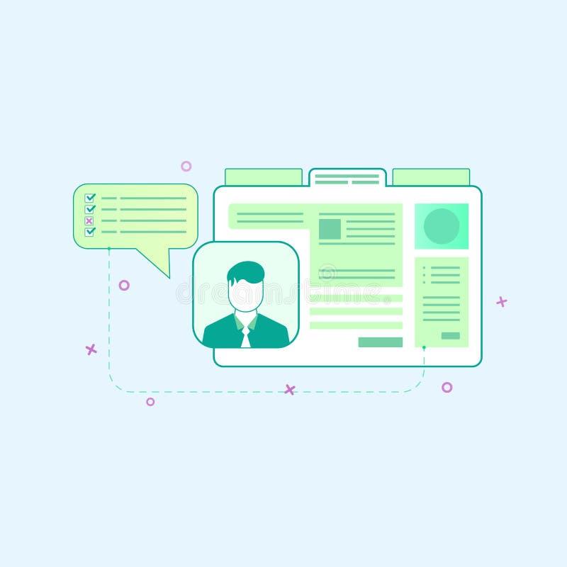 在平的概述样式的传染媒介例证 网页设计的图形设计概念 向量例证