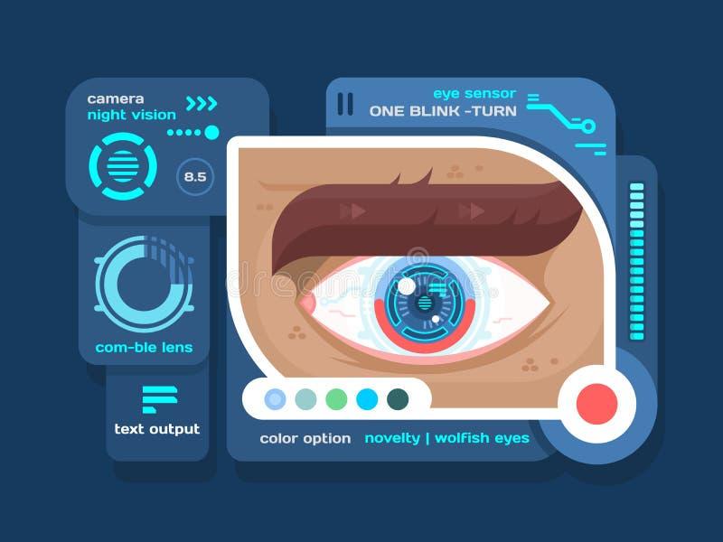 Download 在平的眼睛的技术 向量例证. 插画 包括有 界面, 确定, 通信, 创造性, 背包, 生物, 概念, 抽象 - 72363234