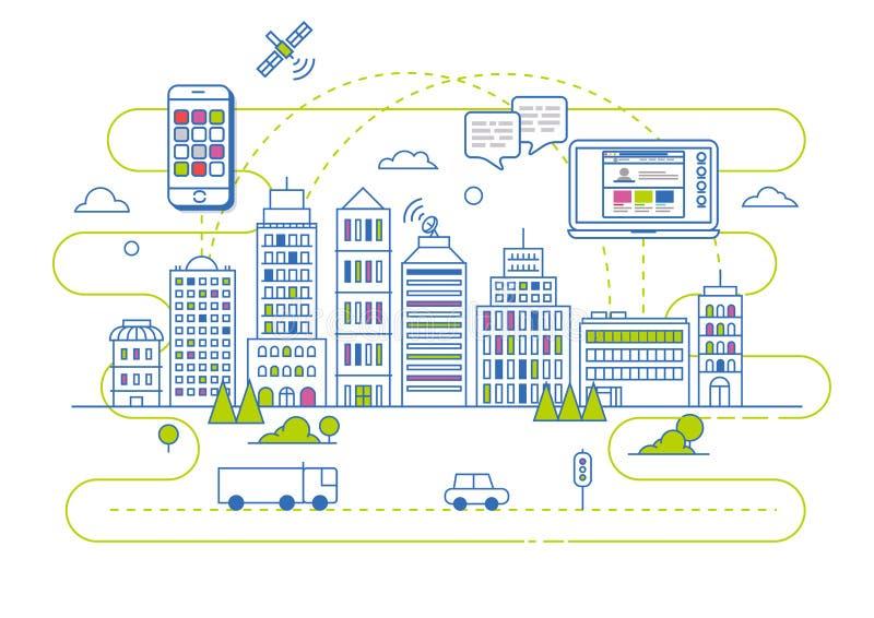 在平的线性传染媒介样式的聪明的城市例证 向量例证