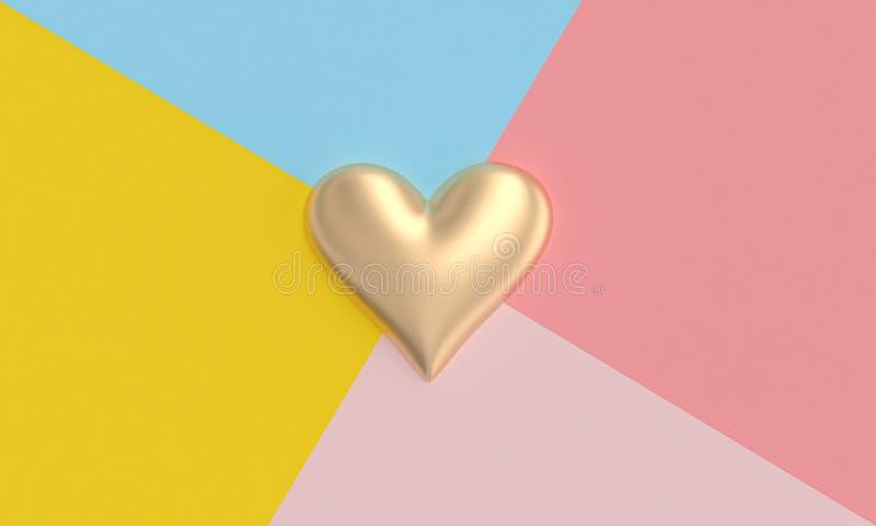 在平的被放置的样式的不同地色的区段背景的金心脏  免版税库存照片