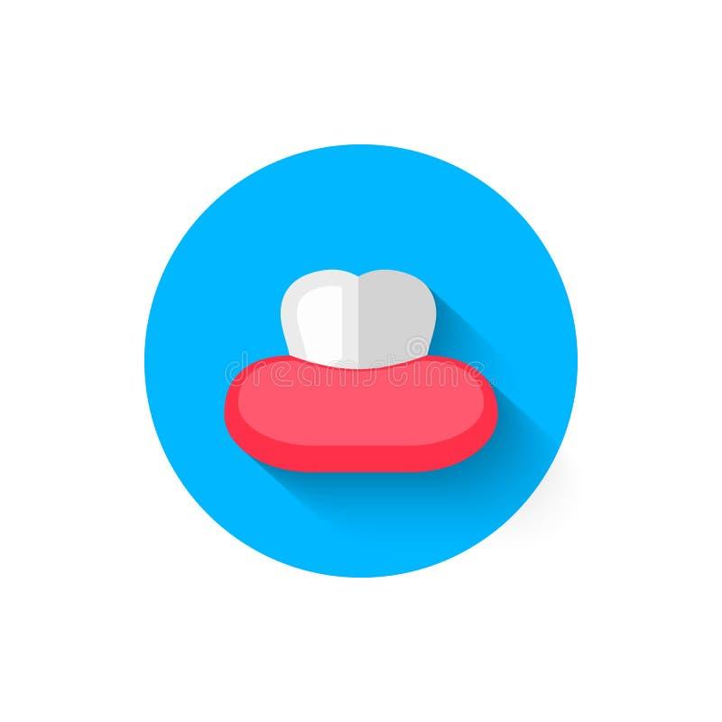 在平的设计样式传染媒介例证的牙象 在口腔医学题材的现代,最低纲领派象  向量例证