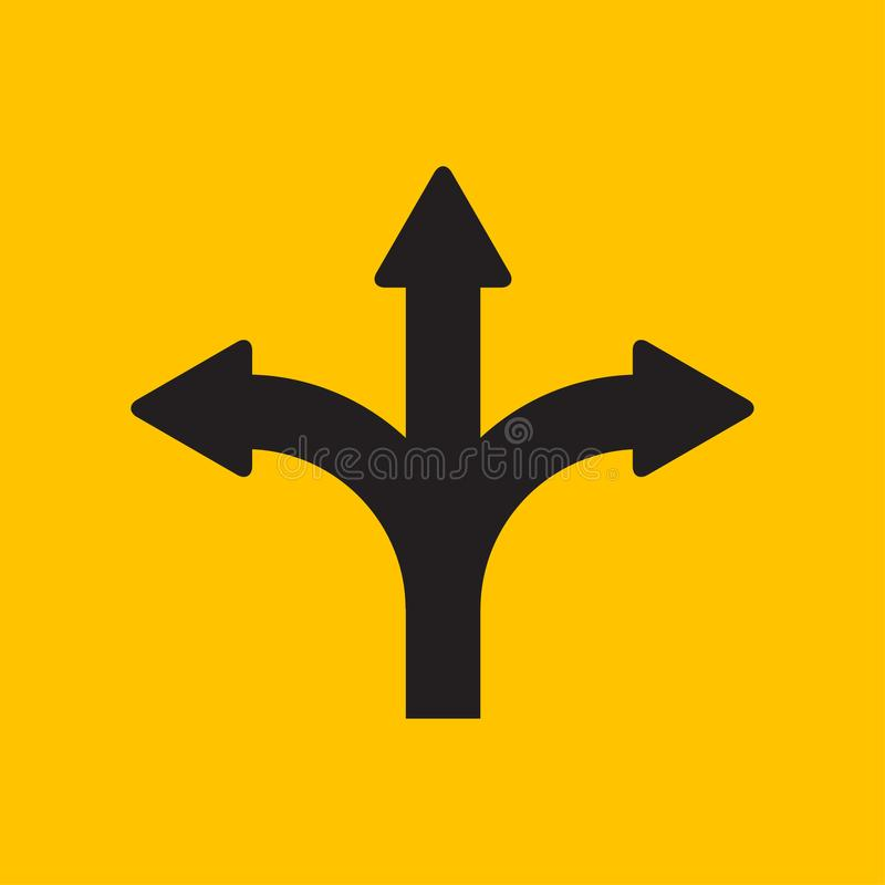 在平的设计样式的三通的方向箭头 向量例证