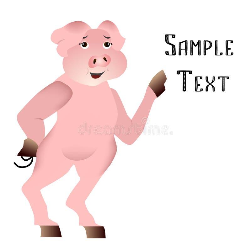 在平的设计样式的例证与逗人喜爱的猪的 库存例证
