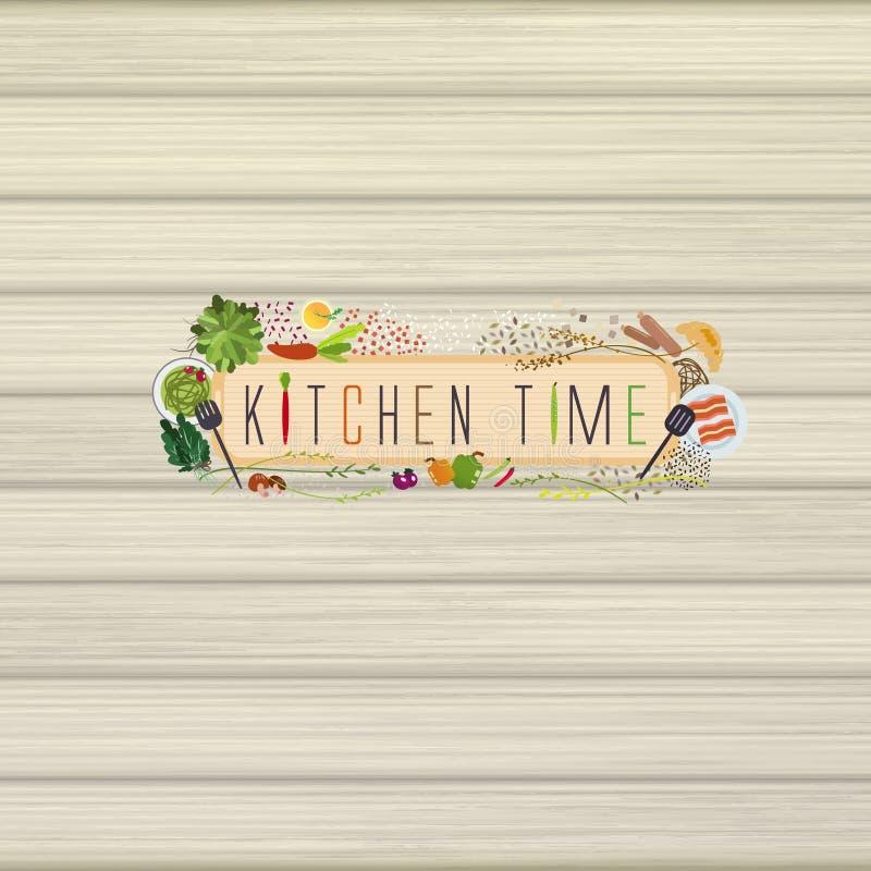 在平的设计样式的可爱的烹调材料 皇族释放例证