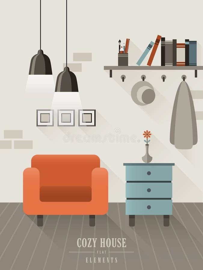 在平的设计样式的舒适房子内部 向量例证