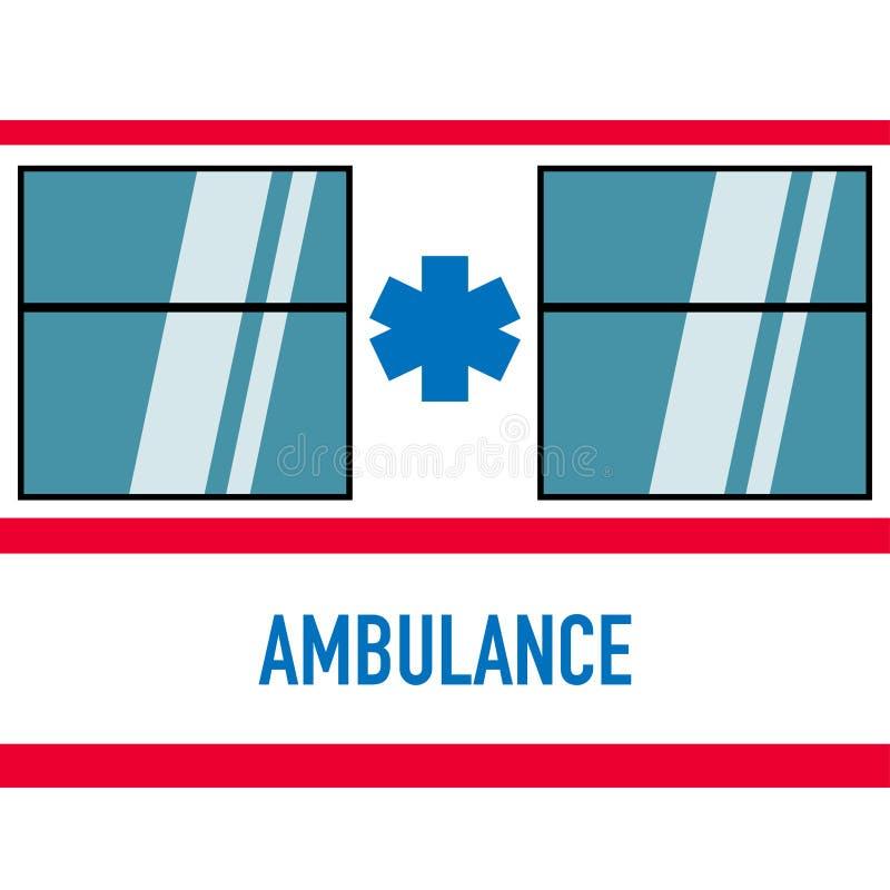 在平的设计白色红色的救护车汽车 皇族释放例证