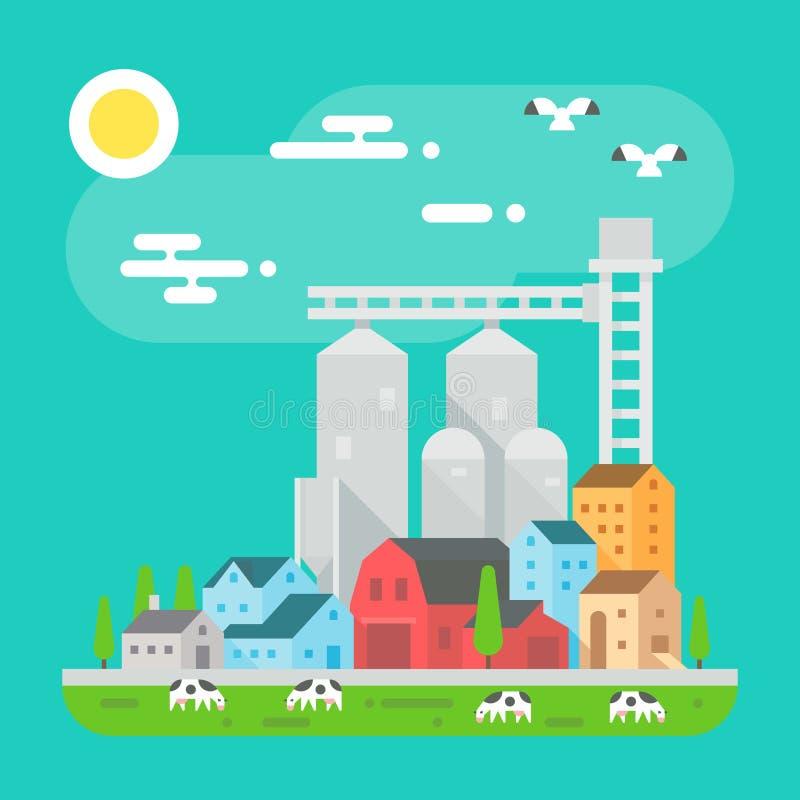 在平的设计的五颜六色的农厂风景场面 库存例证