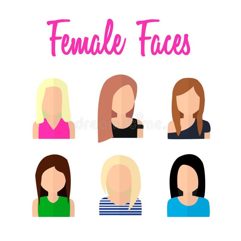 在平的设计的女性面孔 向量例证