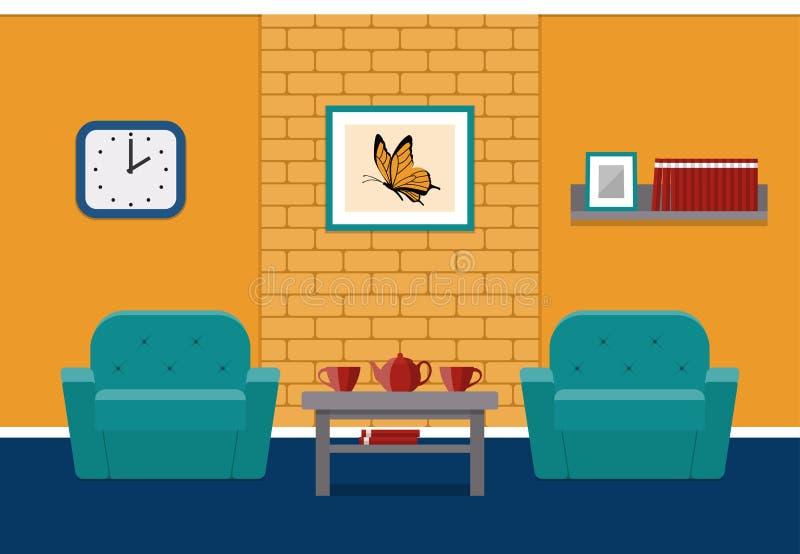 在平的设计的客厅内部 向量背景 向量例证