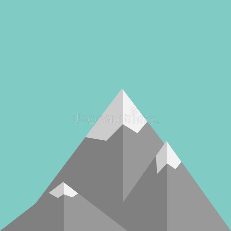 在平的设计的山在绿色背景 库存例证