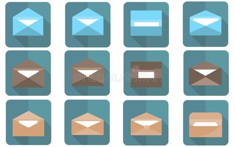 在平的设计的平的信封 发电子邮件和全球性通信 向量例证