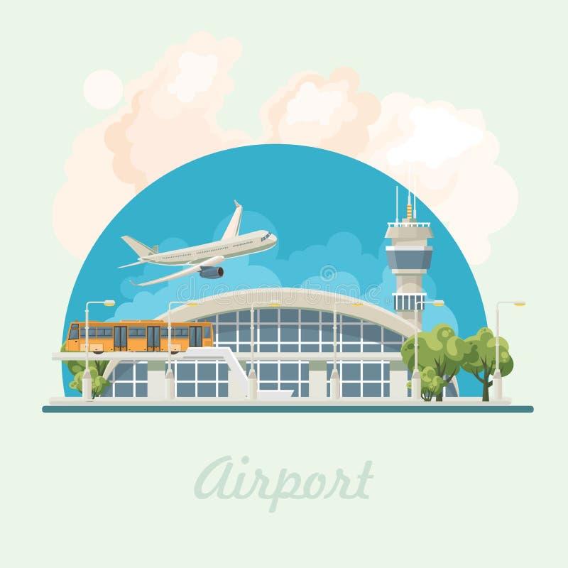 在平的设计的机场现代大厦传染媒介例证 皇族释放例证