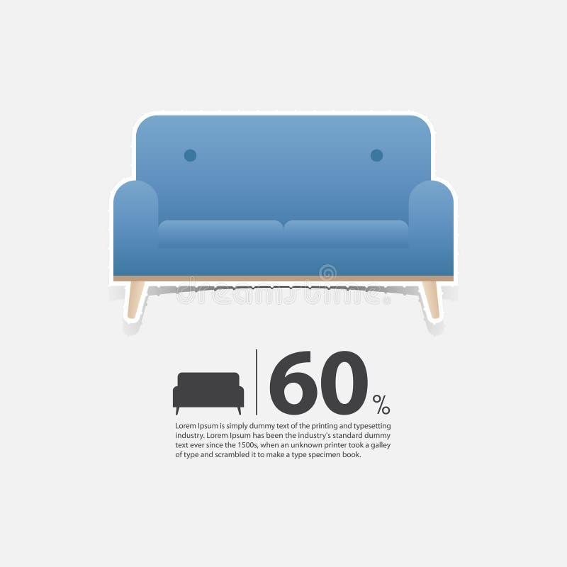 在平的设计的沙发客厅内部的 家具销售海报的最小的长沙发象 在白色背景的蓝色长沙发 库存例证