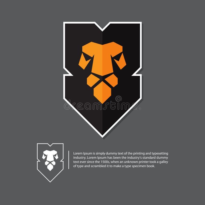 在平的设计的狮子顶头商标 在灰色背景的最小的商标 库存例证