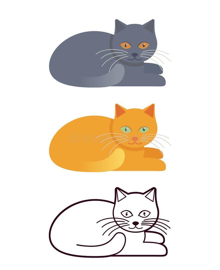 在平的设计的猫和线性 也corel凹道例证向量 库存例证