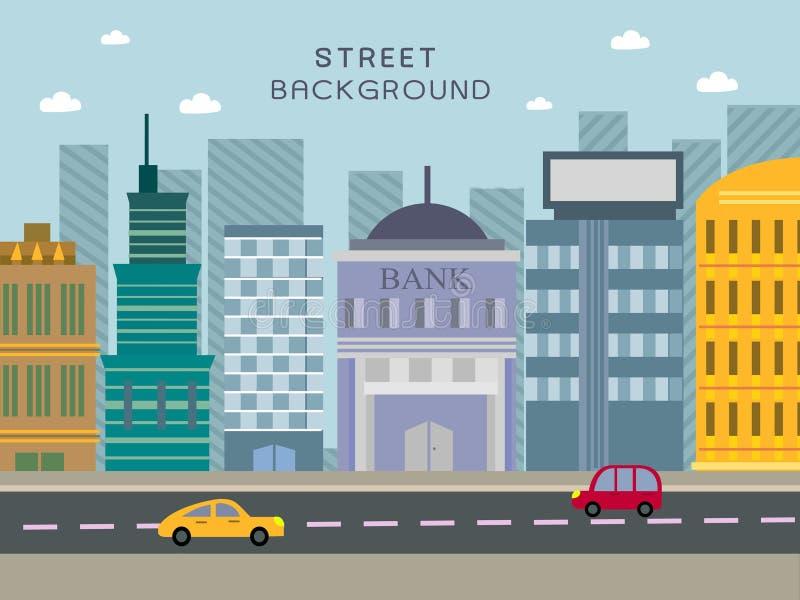 在平的设计的现代城市街道概念 向量例证