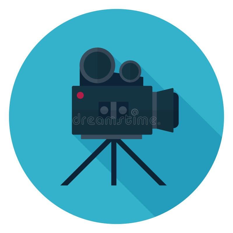 在平的设计的电影摄影机象 库存例证